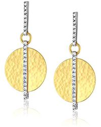 Gurhan - Lush Diamond Collection Gold Small Flake And Diamond Pave Drop Post Earring, One Size - Lyst