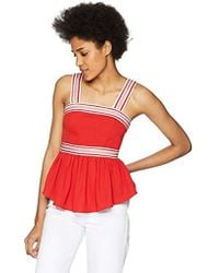 C/meo Collective - Be Moved Ribbon Strap Detail Sleeveless Peplum Top - Lyst