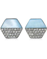 T Tahari - Mop/pave Hexagon Disc Button Stud Earrings - Lyst