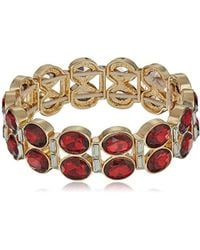 Napier - Red Multi Stone Stretch Bracelet, Gold Red - Lyst