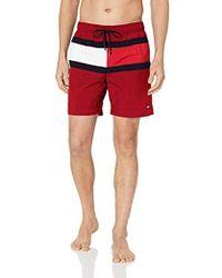 320ed9ec3a Tommy Hilfiger - Men's Medium Drawstring Swimshorts, Red Men's Shorts In  Red - Lyst