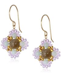 Miguel Ases - Small Calcite And Quartz Miyuki Encased Flower Drop Earrings - Lyst
