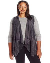 Calvin Klein - Plus Size Vest W/suede Drape - Lyst