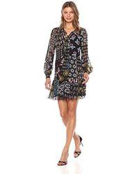 489fb160339 Donna Morgan - Mock Two-piece Dress With Pleated Skirt (black/ochre Multi
