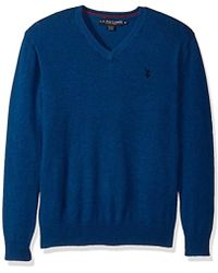U.S. POLO ASSN. - Stretch Fabric Solid V-neck Sweater - Lyst