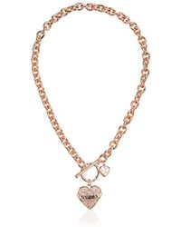 Guess - Pave Heart With Logo Banner Pendant Toggle Necklace - Lyst