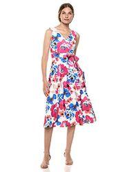 9574db160ef Calvin Klein Sleeveless A Line Midi Dress With V Neckline in Black - Lyst