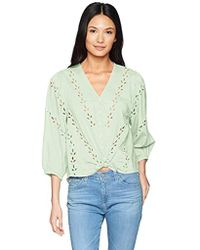 Lucky Brand - Eyelet Peasant Blouse - Lyst