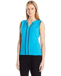 Calvin Klein - Sleeveless V-neck Top With Piping - Lyst