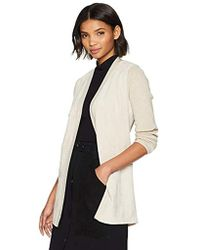 Calvin Klein - Long Sleeve Cardigan With Suede, - Lyst