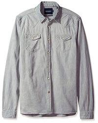 Scotch & Soda - Ams Blauw Classic Western Shirt In Regular Fit Long Sleeve Top - Lyst