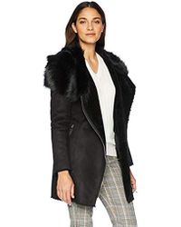 Calvin Klein - Shrarling With Asytmetrical Zipper Detail And Faux Fur Trimmed Collar - Lyst
