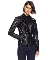 Calvin Klein - Embossed Faux Leather Moto Jacket - Lyst