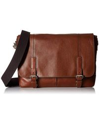 6faec5c5744e Lyst - Fossil Estate Waxed Cotton Leather Messenger Bag in Brown for Men