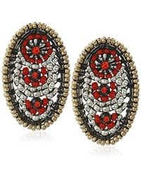 Miguel Ases - Small Gunmetal Red Swarovski Post Earrings - Lyst