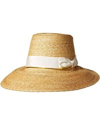 Lyst - Hinge Layla Straw Panama Hat in White cba8f5a80138