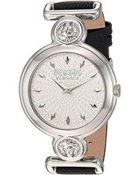 Versus - 'sunnyridge Extension' Quartz Stainless Steel And Leather Watch, Color:black (model: Vspol3018) - Lyst