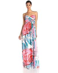 Donna Morgan - Laura Strapless Long Chiffon Printed Dress - Lyst