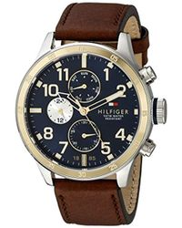 Tommy Hilfiger - 1791137 Cool Sport Two-tone Stainless Steel Watch With Leather Band - Lyst