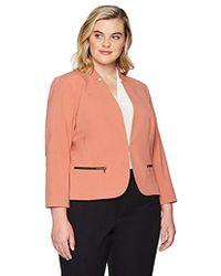 Nine West - Plus Size Kiss Front Jacket With Zipper Pockets - Lyst