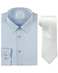 Calvin Klein - Blue Slim Fit Herringbone Dress Shirt And Silver Spun Tie Combo - Lyst