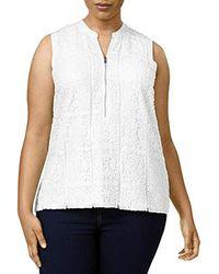 Calvin Klein - Plus Size S/l Top W/texture Lace - Lyst