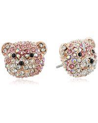 Betsey Johnson - S Pave Bear Stud Earrings - Lyst
