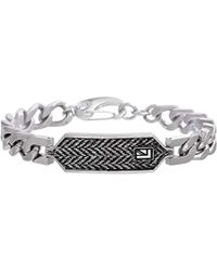 Ben Sherman Stainless Steel Curb Chain Bracelet With Black And White Herringbone Design Id Plate