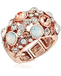 "Guess - ""basic"" Rose Gold Domed Multi-stone Adjustable Ring, Size 7-9 - Lyst"