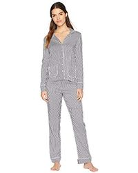 Splendid - Button Up Long Sleeve Top And Bottom Classic Pajama Set Pj - Lyst
