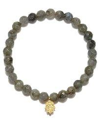 Satya Jewelry - S Labradorite Gold Hamsa Stretch Bracelet, One Size - Lyst