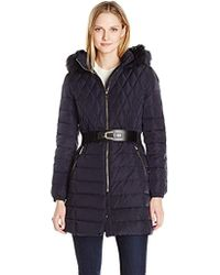 Ivanka Trump - Down Belted Coat With Faux Fur - Lyst