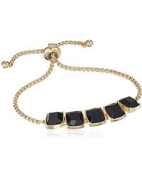 Laundry by Shelli Segal - Stone Slider Bracelet, Black/gold, One Size - Lyst