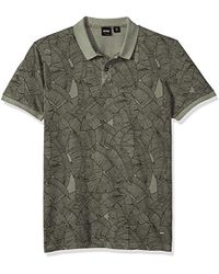 BOSS - Boss Orange Short Sleeve Garment Dyed Polo With All Over Leaf Print - Lyst