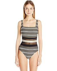 4fff2b88c6ff1 Lyst - Gottex One-piece Lattice Shaped Square Neck Swimsuit in Black