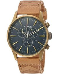 Nixon - 'sentry Chrono Leather' Quartz Stainless Steel Casual Watch, Color:brown (model: A4052731) - Lyst