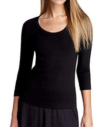 Three Dots - 3/4 Sleeve Playgirl Scoop-neck T-shirt - Lyst
