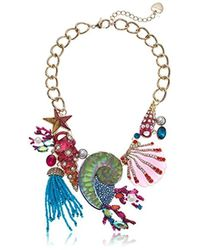 Betsey Johnson - Crabby Couture Multi-color Seashell Bib Pearl Strand Necklace, One Size - Lyst