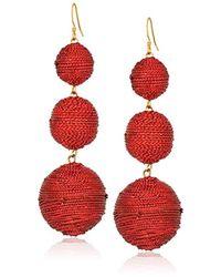 Kenneth Jay Lane - Red 3 Threaded Ball Fishhook Drop Earrings - Lyst