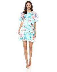 Calvin Klein Chiffon Ruffle Sleeve Shift Dress