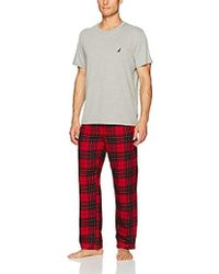 Nautica - Plaid Flannel Pant And Short Sleeve Tee Set - Lyst