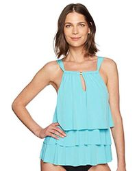 0fbb5fc26ff Lyst - Kenneth Cole Reaction Plus Size Tiered Ruffle Tankini Top in ...