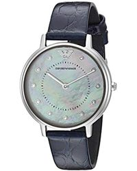 Emporio Armani - 'dress' Quartz Stainless Steel And Leather Casual Watch, Color:blue (model: Ar11095) - Lyst