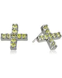 """Nicole Miller - """"artelier"""" Pave Cross Stud Earrings - Lyst"""