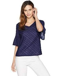 Ivanka Trump - Knit Textured Bell Sleeve V-nevk Tee Shirt - Lyst