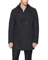 Marc New York Mapleton Herringbone Peacoat With Removable Quilted Bib