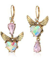 Betsey Johnson - Heart And Wing Mismatch Drop Earrings - Lyst