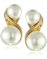 Anne Klein - Gold-tone And Faux Pearl Clip-on Earrings - Lyst