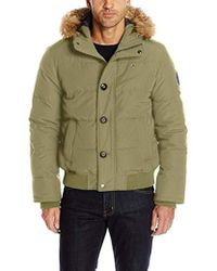 Tommy Hilfiger - Arctic Cloth Quilted Snorkel Bomber Jacket With Removable Faux Fur Trimmed Hood - Lyst