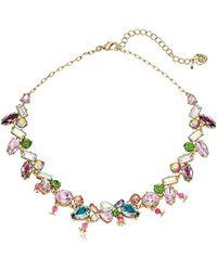 "Betsey Johnson - Mixed Stone Collar Necklace, 16"" + 3.5"" Extemder - Lyst"
